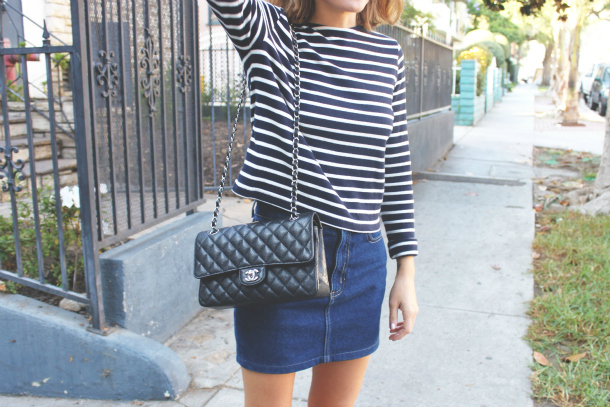 Petit Bateau Striped Top Denim American Apparel Skirt