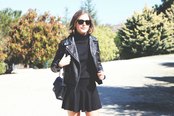 All Black Outfit Motorcycle Leather Jacket Perfecto Turtleneck Isabel Marant Chanel