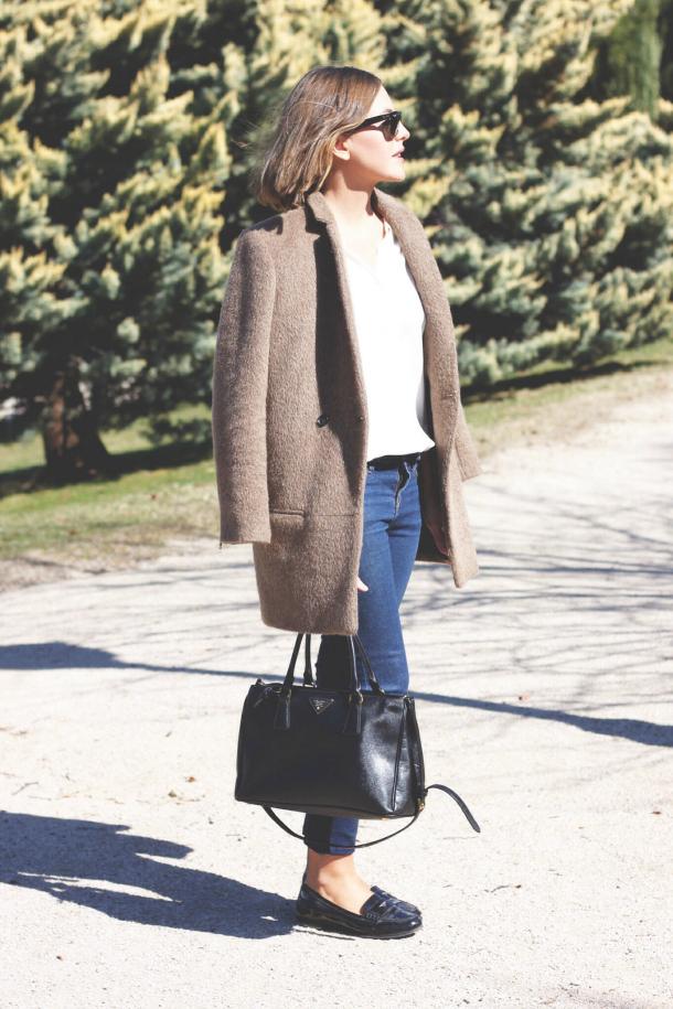 Camel Coat Ivory Shirt Jeans Patent Miu Miu Loafers Prada Bag