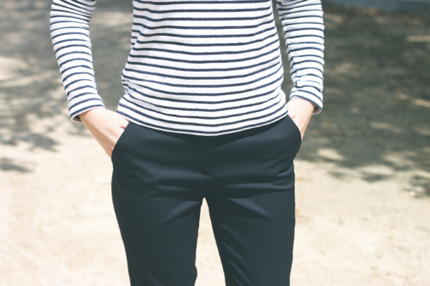 Fashion Blogger Trini Striped Top Suit Trousers