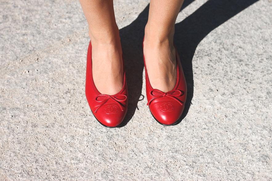 Trini Chanel Classic Flats Red