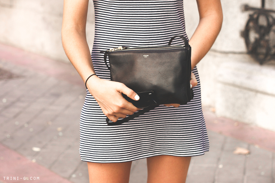 Trini navy Celine trio bag striped dress