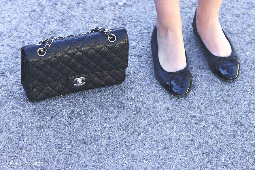 Chanel flats and bag Trini fashion blogger