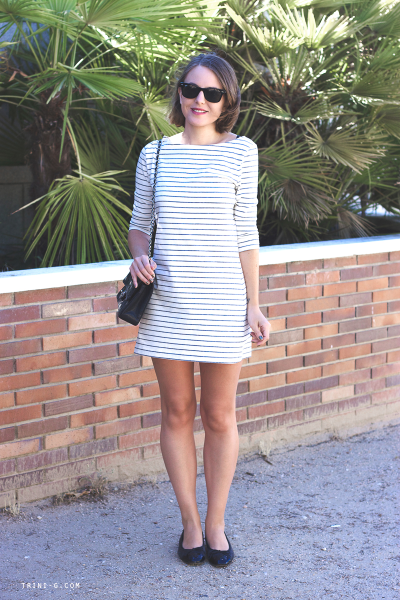 Striped dress Chanel flats Chanel bags