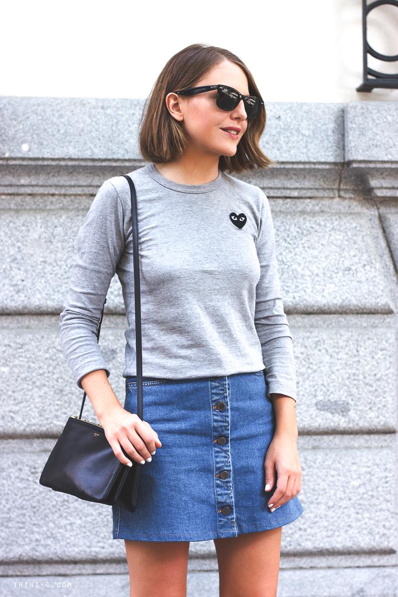 Play CDG grey shirt fashion blogger Trini
