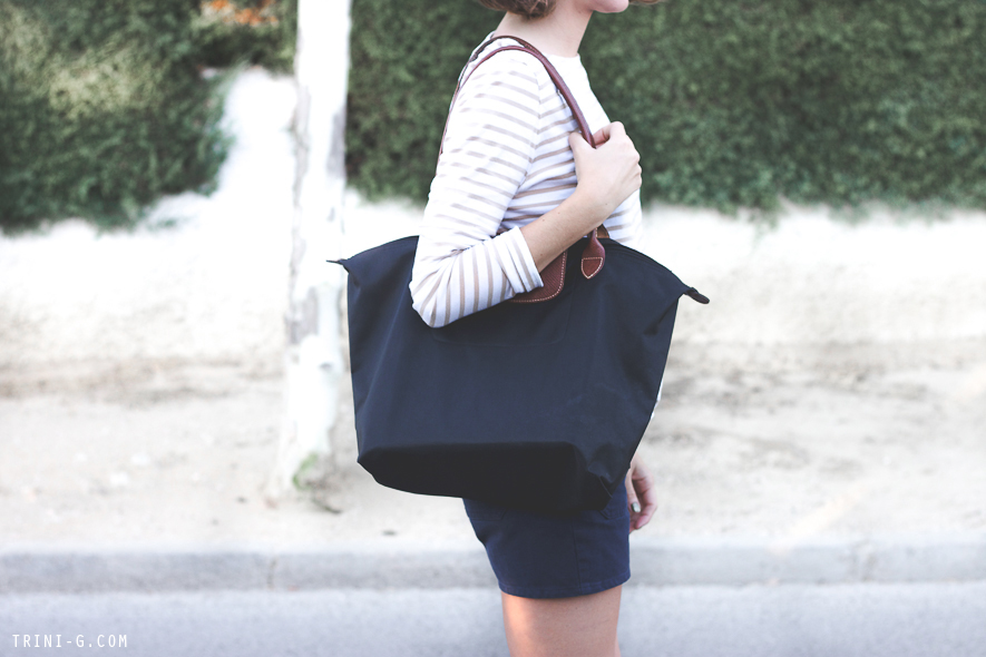 Longchamp Le Pliage black tote Trini blog