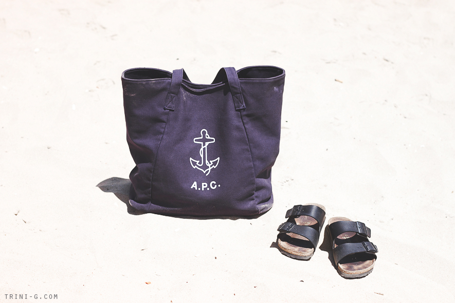 APC beach bag Birkenstock Arizona sandals Trini blog