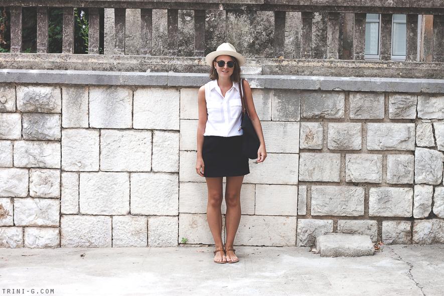 Trini blog black skirt white shirt