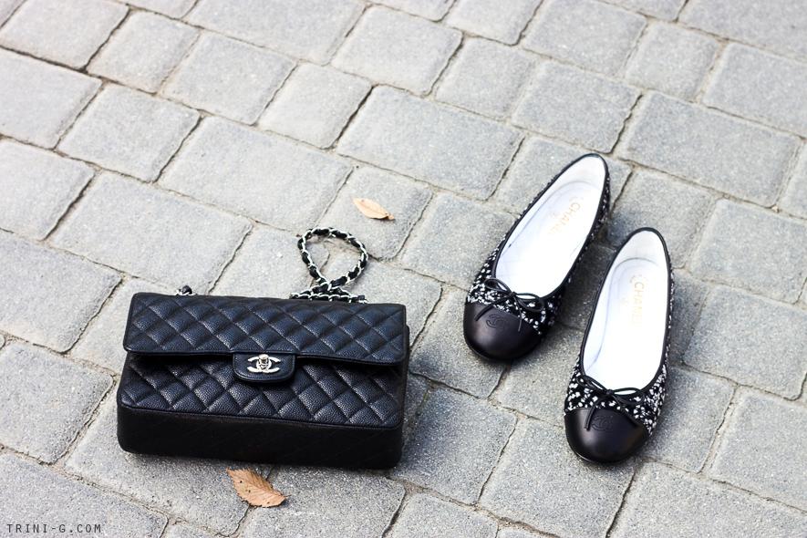 Trini   Chanel tweed flats and bag
