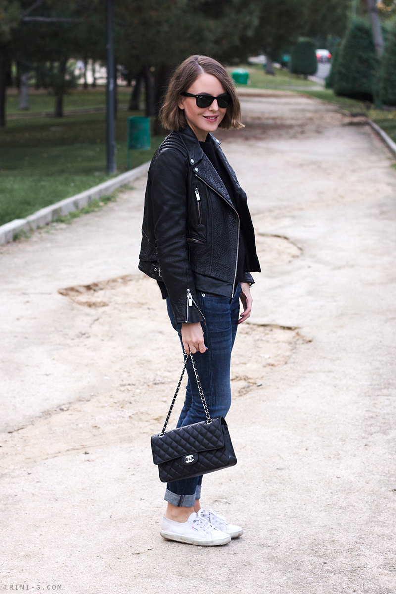 Trini   Black leather jacket and jeans