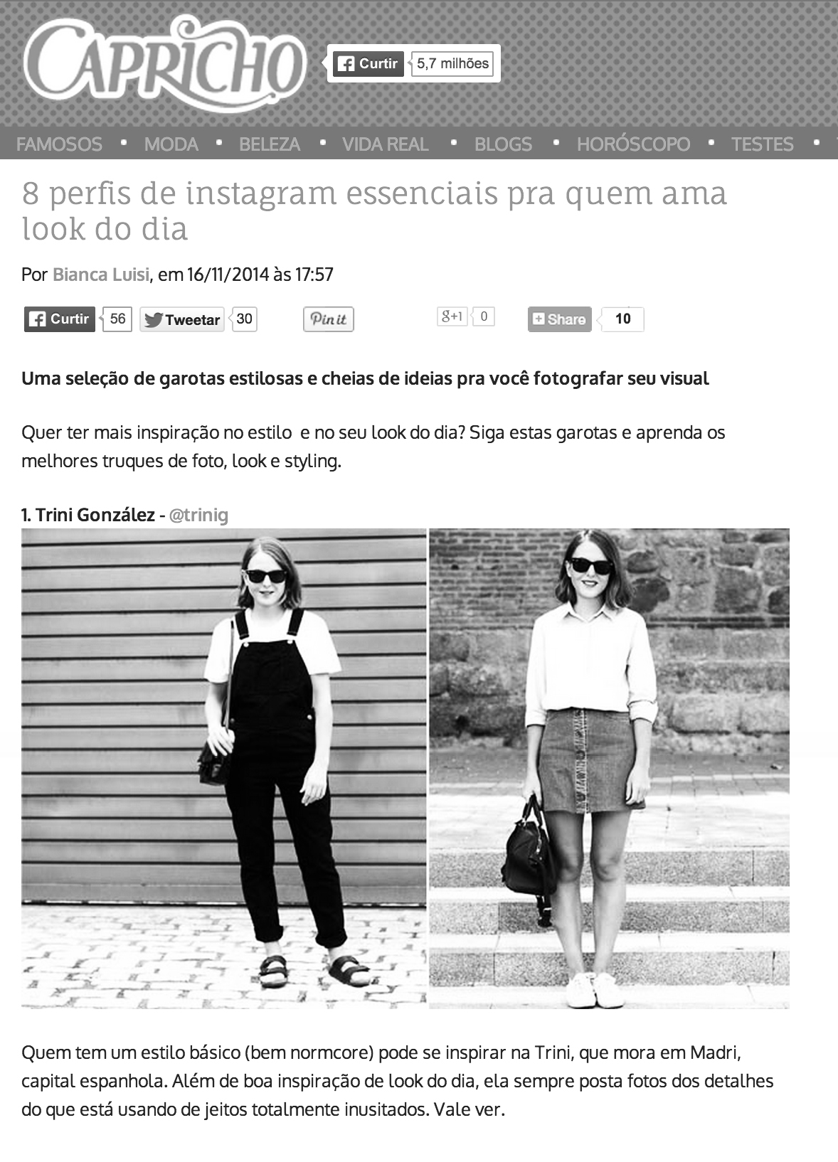 Trini blog | Brazilian online magazine Capricho feature