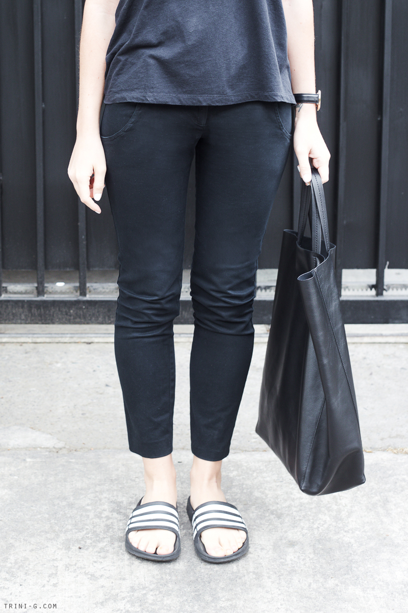 Trini   black Topshop trousers Adidas slides