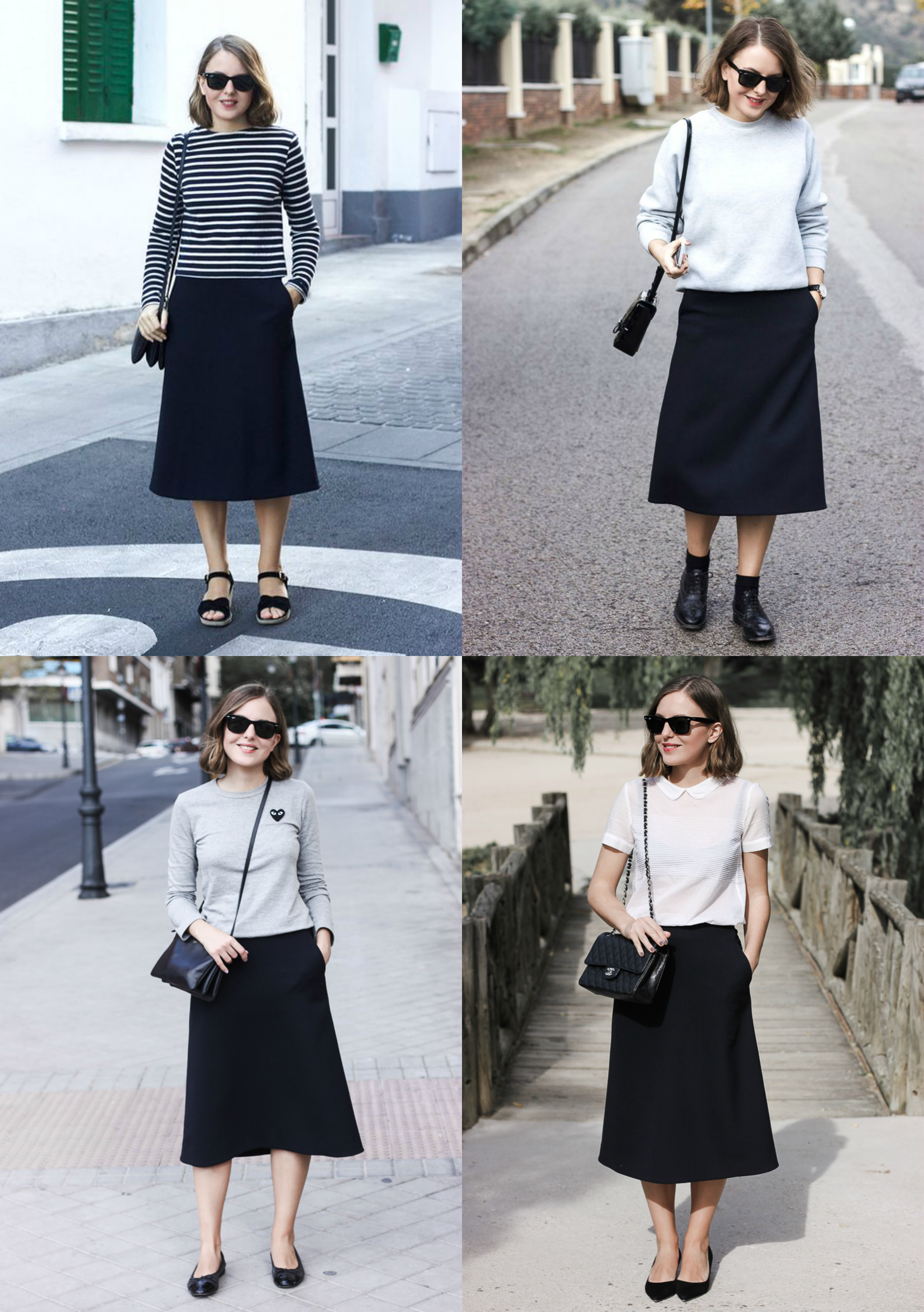 Four ways to wear a navy midi skirt | Trini