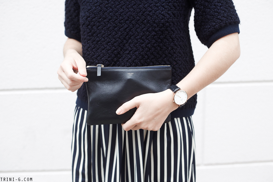 Trini | Céline navy pouch Daniel Wellington  watch
