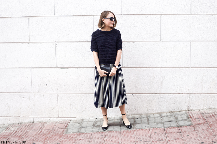 Trini | J.Crew striped skirt Sandro sweater