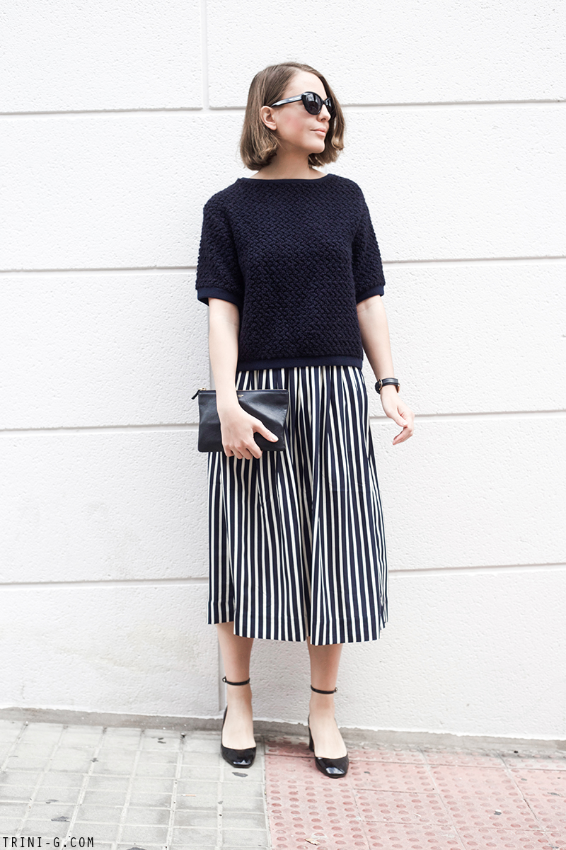 Trini | Sandro jumper J.Crew striped skirt