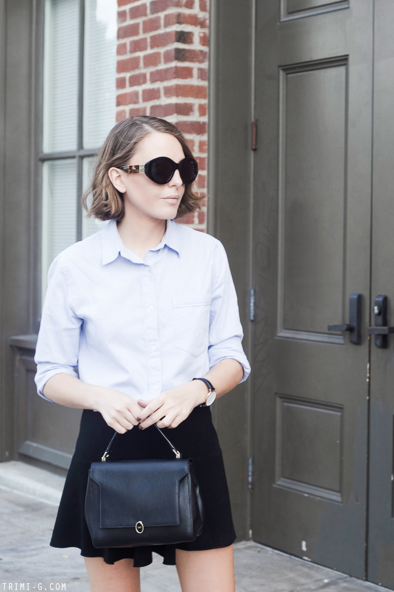 Trini | Club Monaco shirt The Row sunglasses