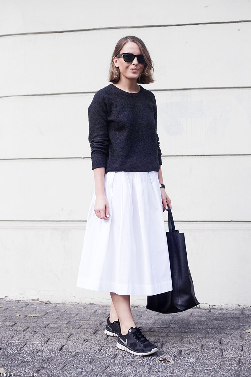 Trini | Equipment Sloane sweater MaxMara white midi skirt