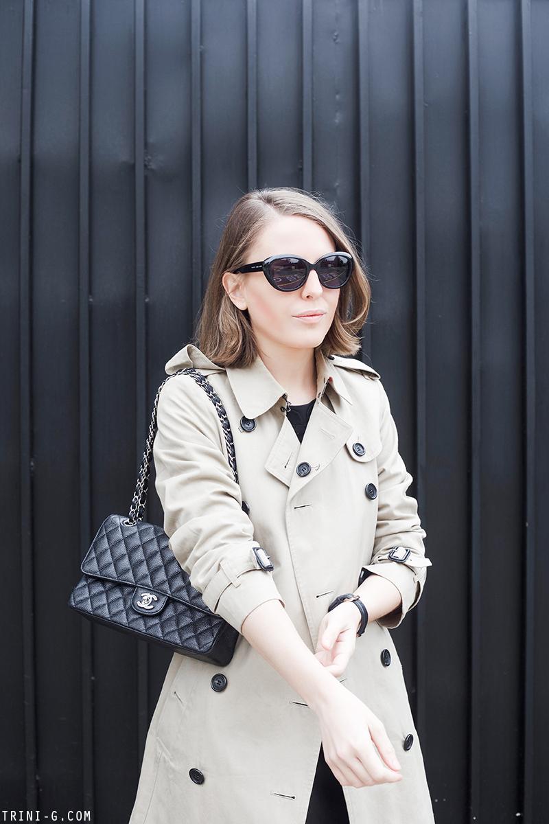 Trini   Chanel classic flap Burberry trench coat