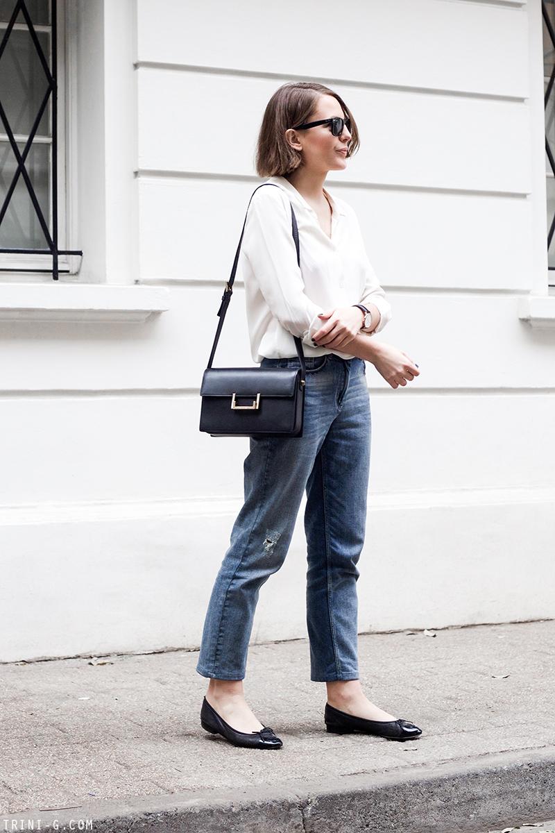 Trini | Claudie Pierlot boyfriend jeans Chanel flats