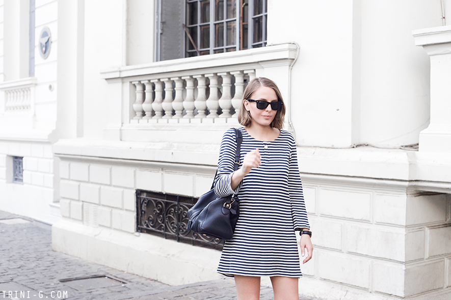 Trini | A.P.C striped dress Superga navy sneakers