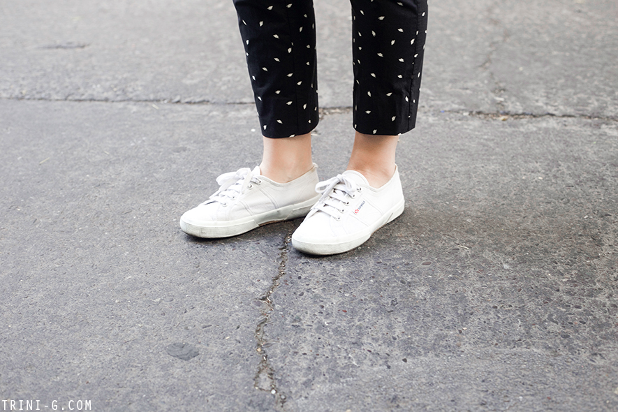 Trini | A.P.C polka dots overalls  Superga white sneakers