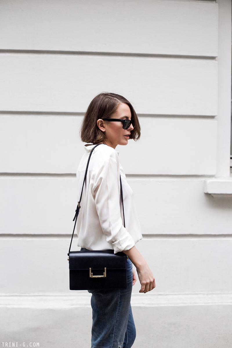 Trini |  Claudie Pierlot boyfriend jeans Saint Laurent Lulu bag