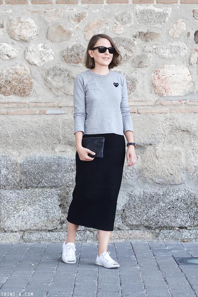 Trini | Isabel Marant midi skirt Comme des Garçons PLAY t-shirt