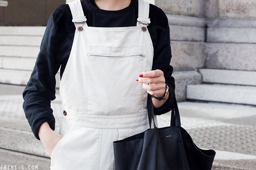 Margaret Howell dungarees Adidas Gazelle sneakers
