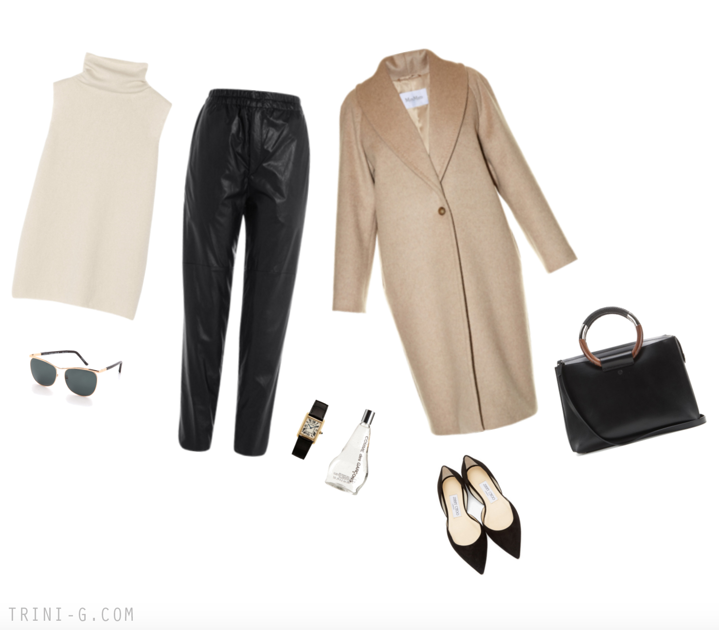 Trini blog|MaxMara coat Jimmy Choo flats The Row bag