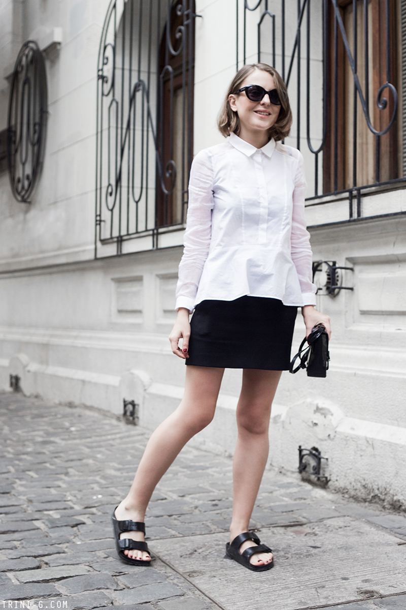 Trini | The Kooples shirt The Kooples skirt Birkenstock sandals