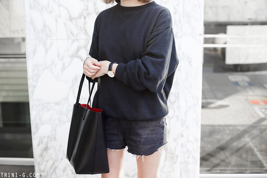 Trini |Gap sweatshirt Levis vintage shorts Adidas Superstar sneakers