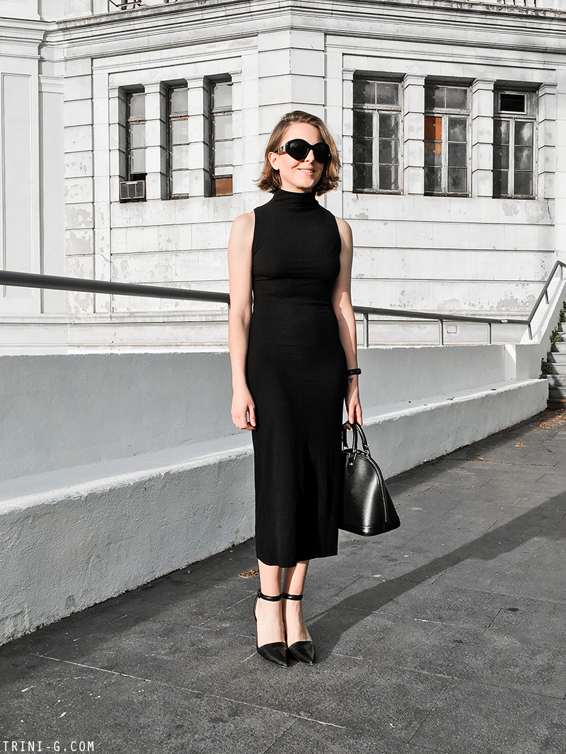 Trini | The Row sunglasses Reformation dress Alexander Wang shoes
