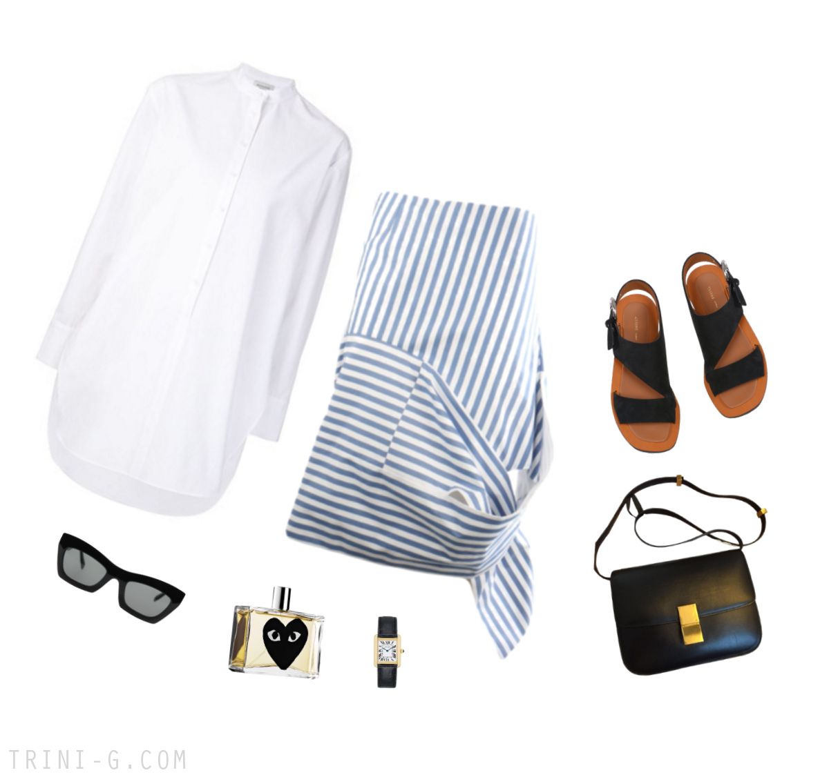 Trini | Céline striped skirt Protagonist white shirt