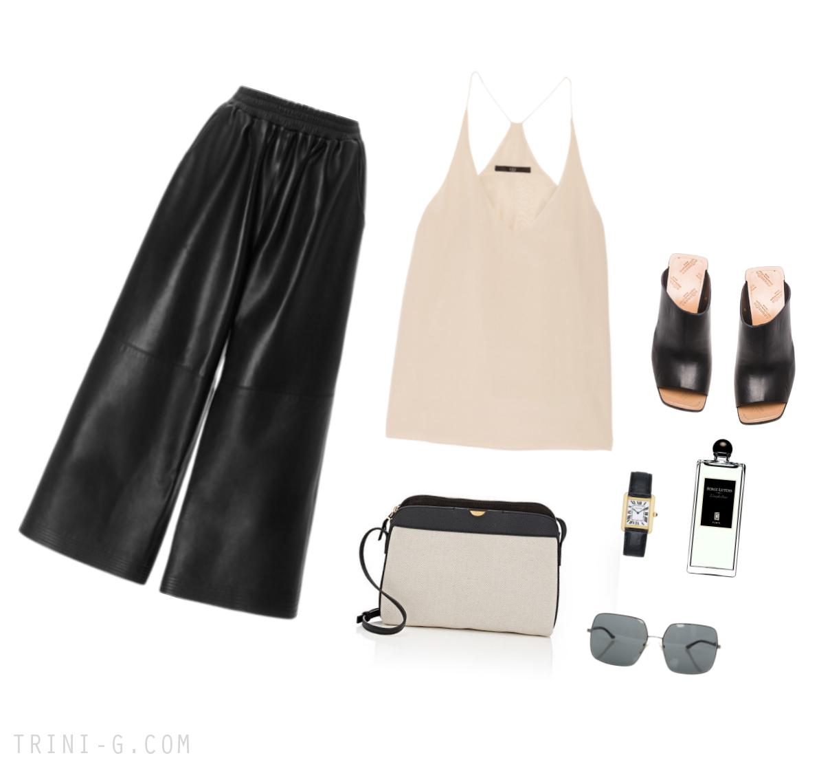 Trini | Tome leather culottes Tibi silk camisole