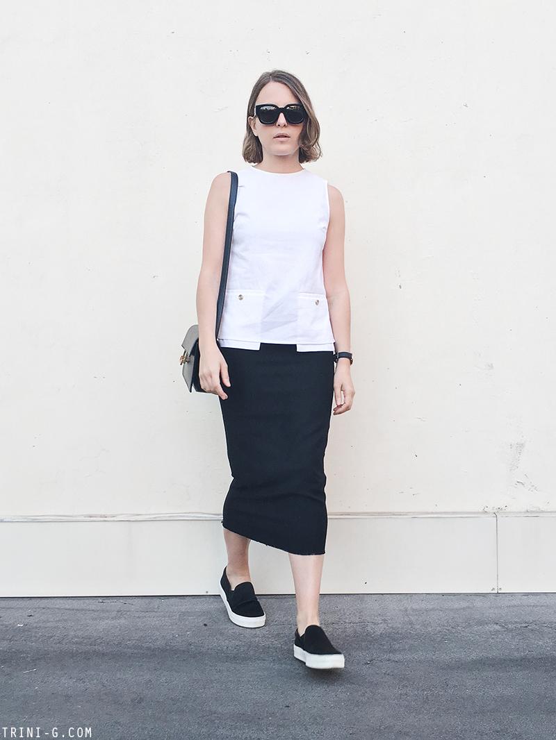 Trini | Acne Studios white top Isabel Marant midi skirt