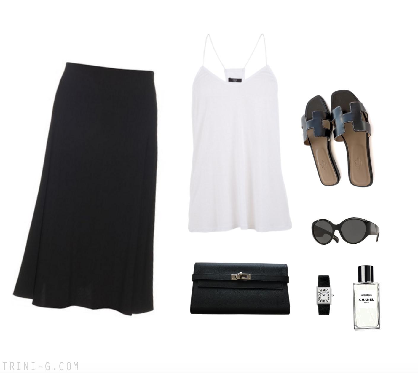 Trini | Hermes Oran sandals The Row skirt