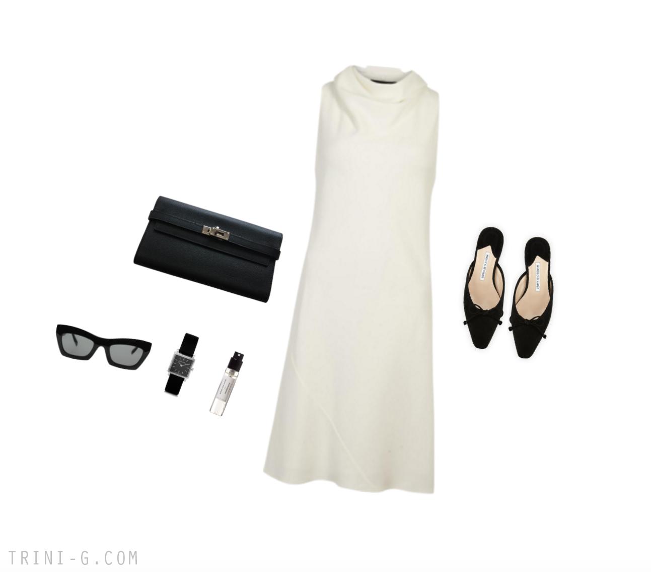 Trini | The Row dress Manolo Blahnik pumps Hermes bag