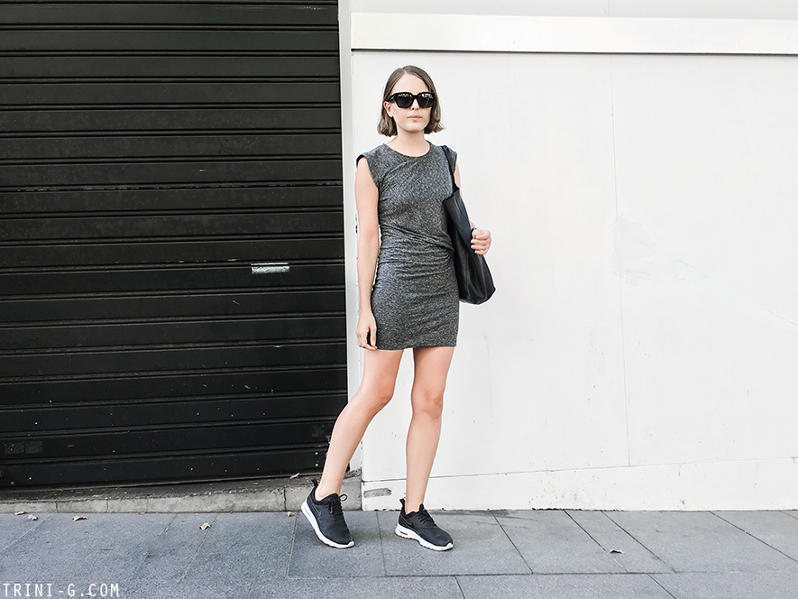 Trini | IRO Athos dress Céline cabas bag Nike Air Max Thea