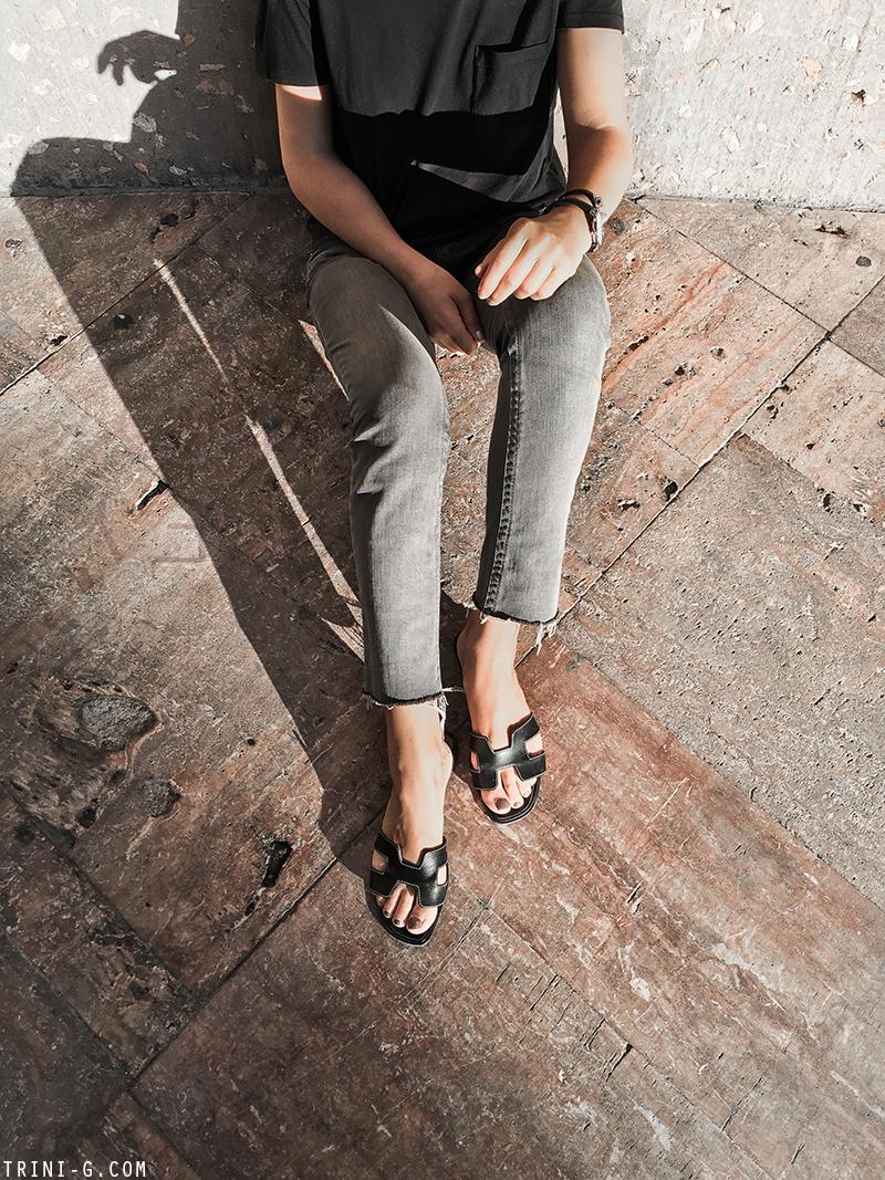 Trini   Hermes Oran sandals Louis Vuitton Alma bag