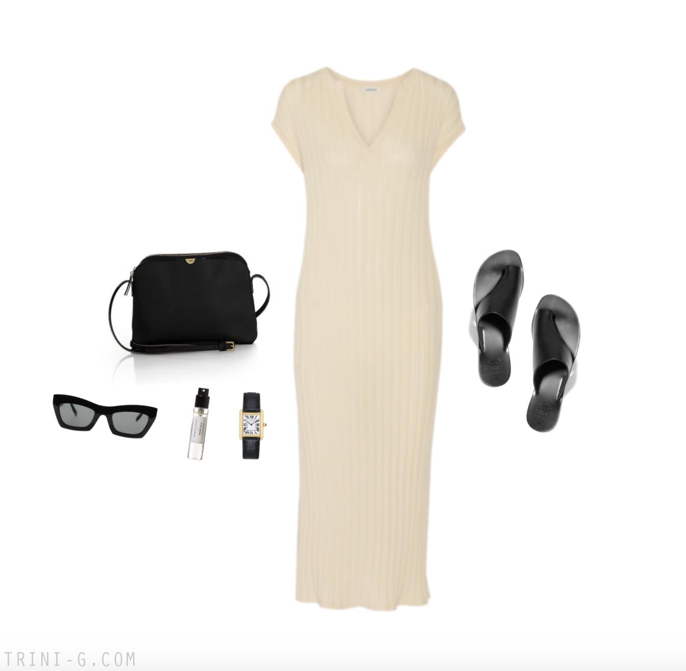 Trini | Toteme dress ATP Atelier sandals