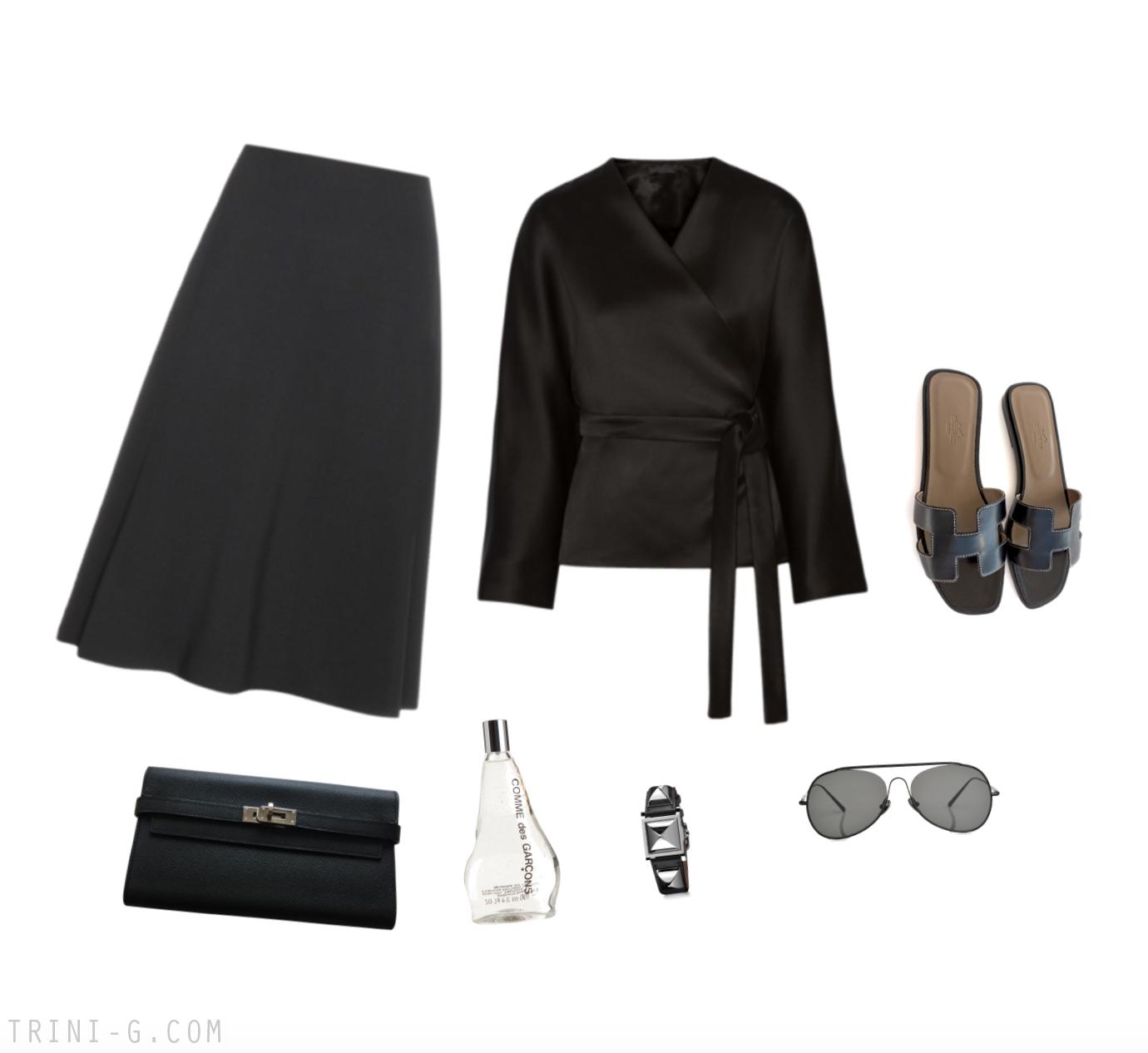 Trini |The Row skirt Hermes sandals