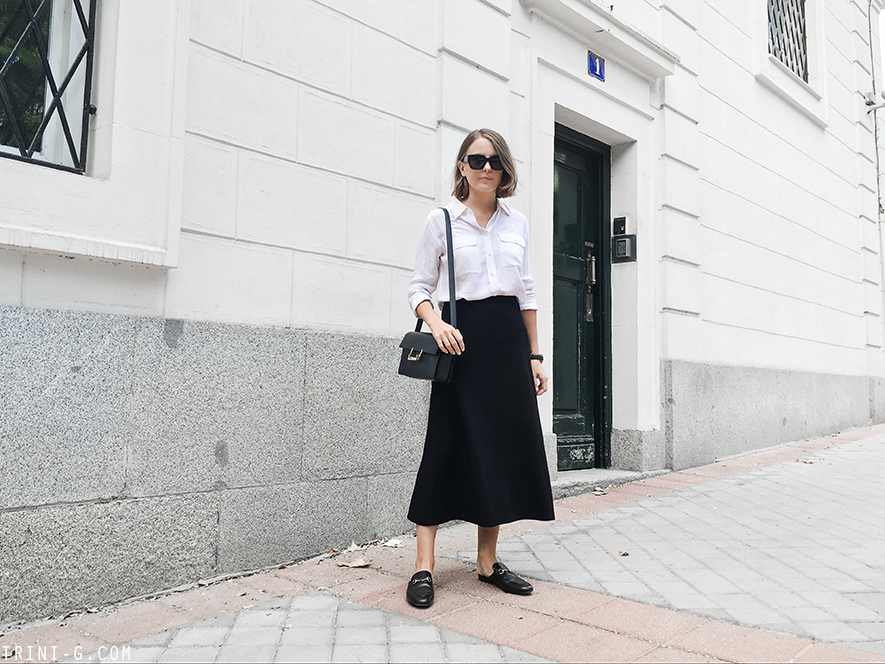 Trini | The Row skirt Gucci Princetown loafers