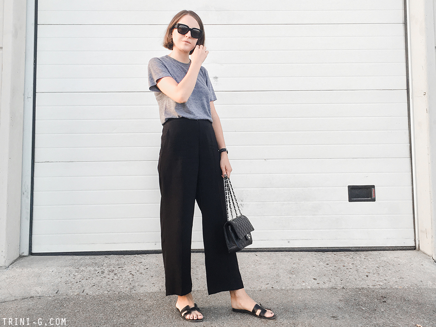 Trini | Theykens Theory trousers Hermes Oran sandals