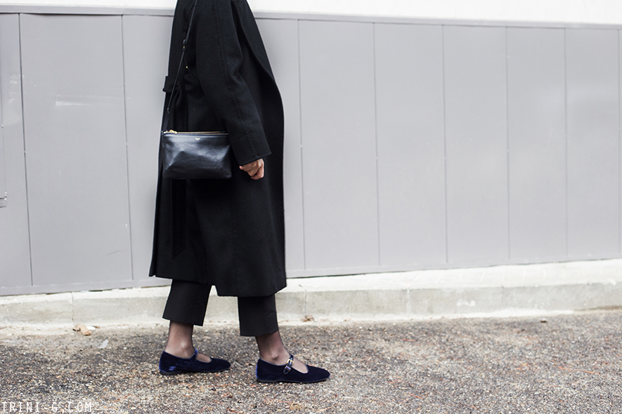 Trini | MaxMara Manuela coat The Row Ava flats Céline trio bag