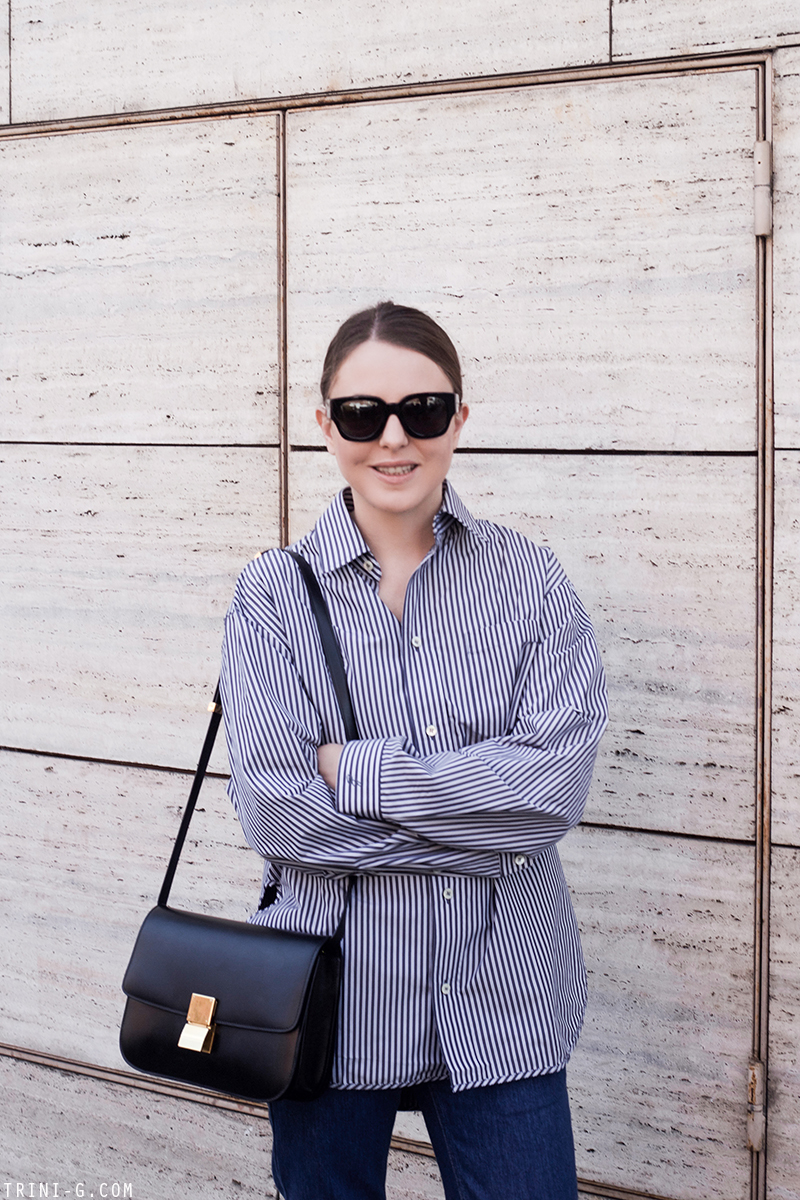 Trini |Balenciaga oversized shirt Céline box bag
