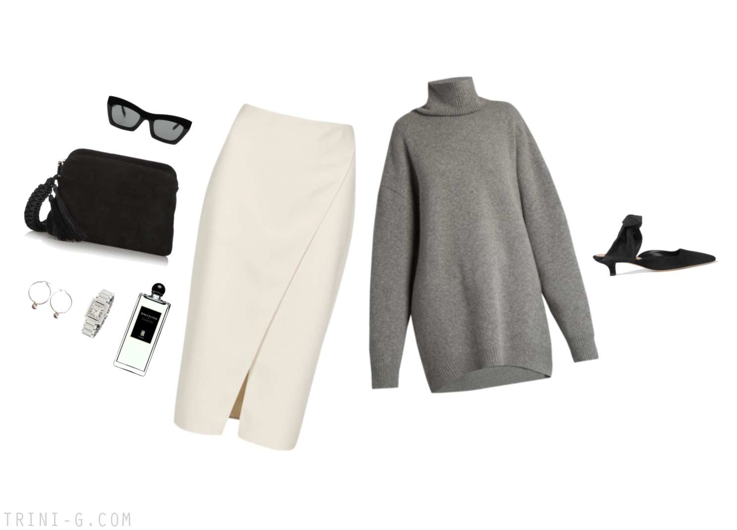 Trini |Raey sweater Acne Studios skirt