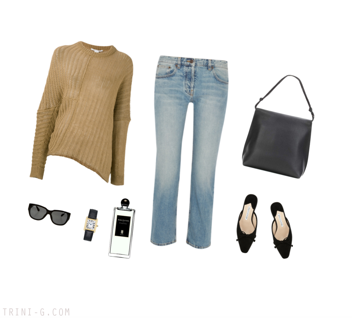 Trini | The Row sweater Manolo Blahnik shoes