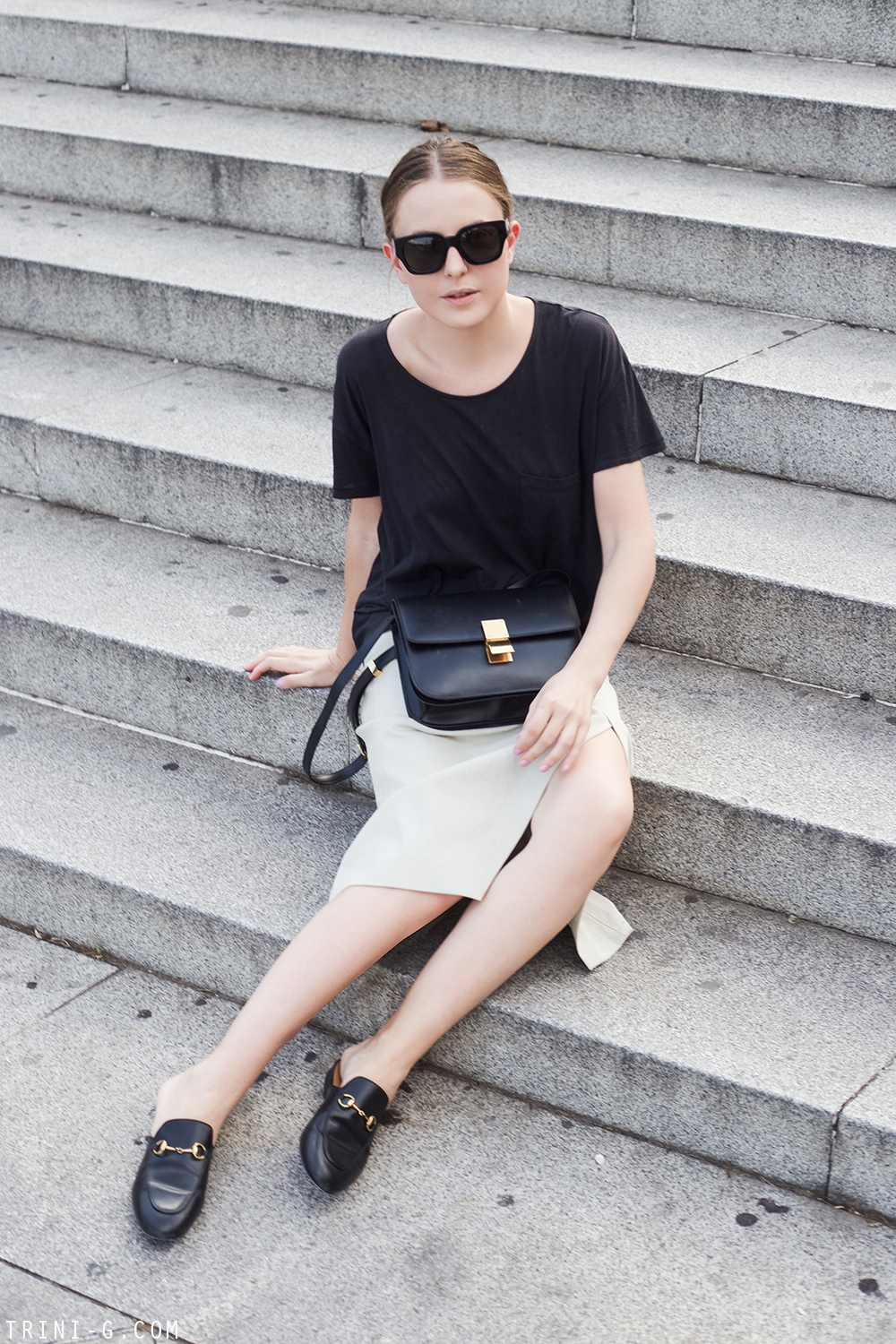 Trini | Acne Studios skirt Gucci slippers