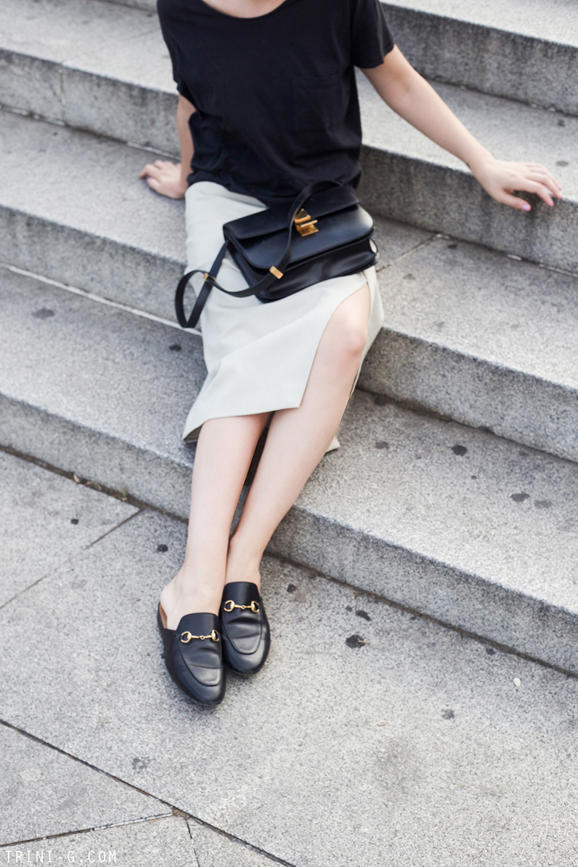 Trini | Acne Studios skirt Gucci slippers